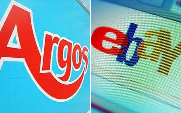 A divided image with one side depicting the Argos logo and the other the eBay logo