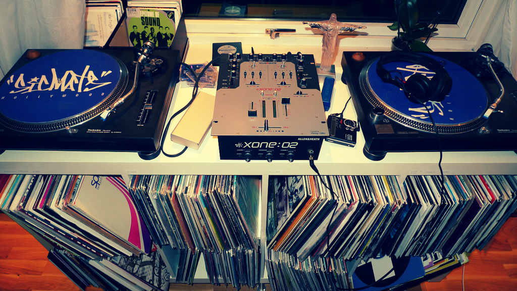 Vinyl records on a set of DJ decks