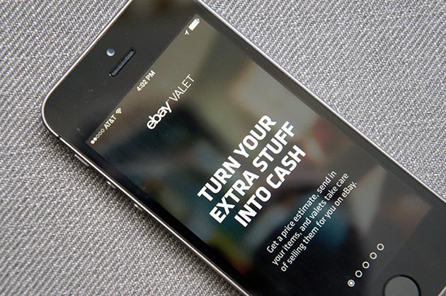 ebay valet app on a smartphone
