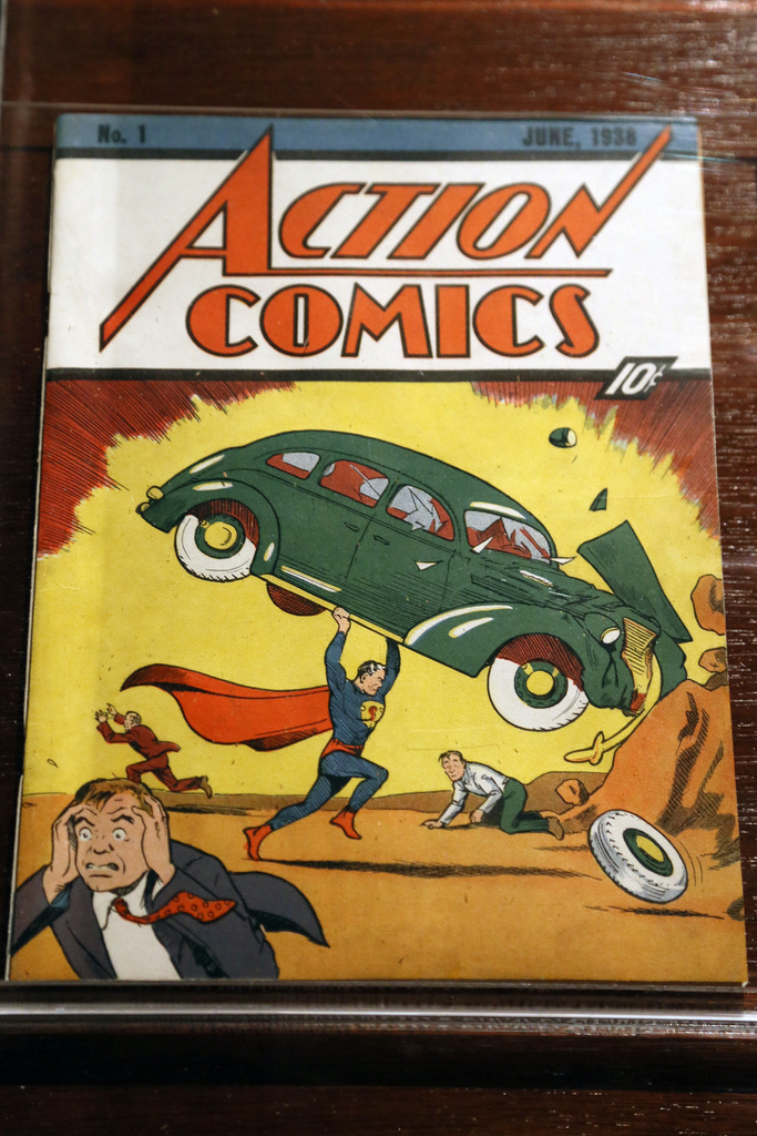 Photograph of an first-edition 1934 Action Comics issue 1