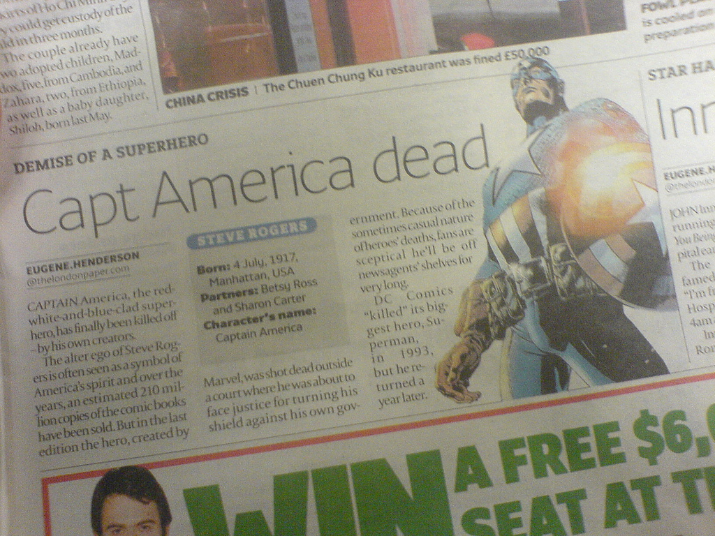 A newspaper clipping announcing the so-called death of Captain America