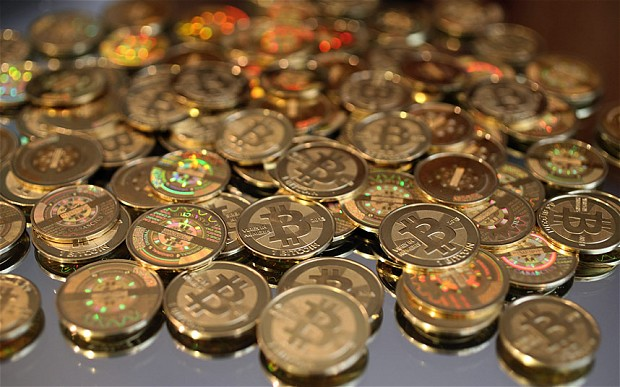 BITCOINS in piles