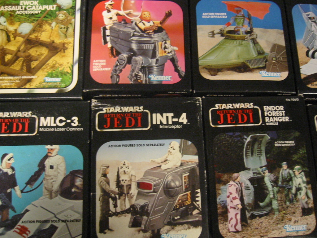 A collection of original Return of the Jedi toys and merchandise