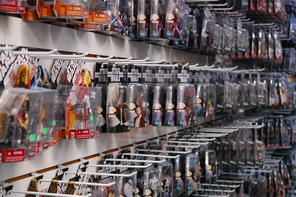 Star Wars toys on display in a large toy store