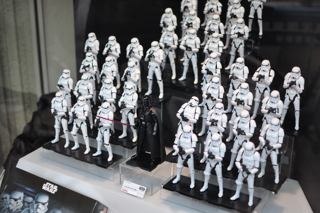 A collection of Star Wars figurines on display