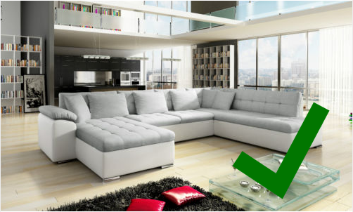 Example of a good eBay photograph showing a white sofa