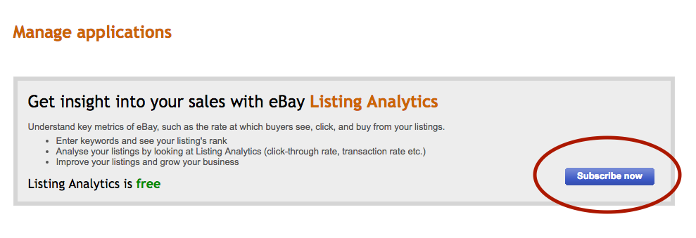 Screenshot showing how users can access eBay's Listing Analytics