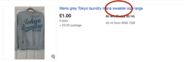 A misspelled title on eBay