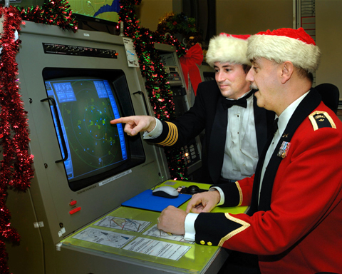 Staff at NORAD track Santa on Christmas Eve