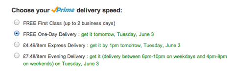 Screenshot detailing various Amazon delivery speeds, including one-day delivery