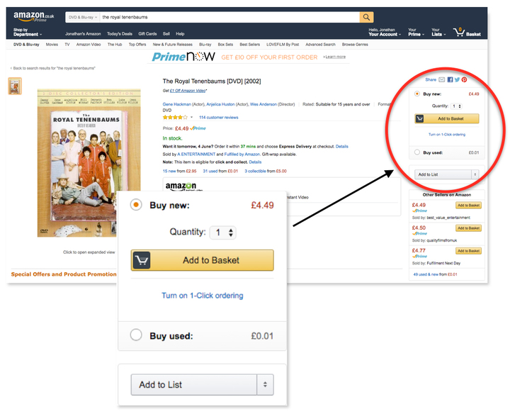 A screenshot detailing where the Amazon Buy Box is on the listing page