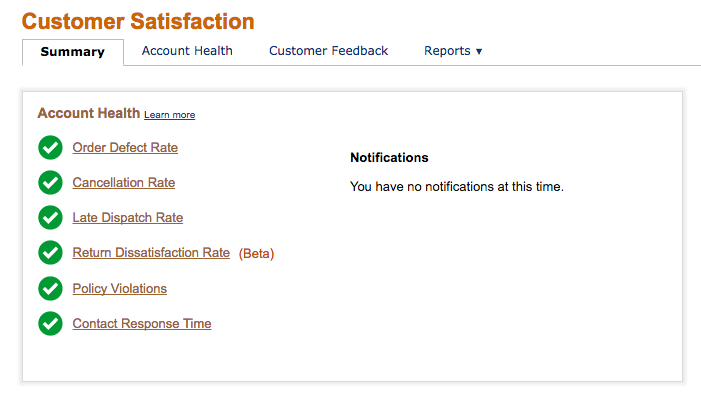 Screenshot showing various factors of customer satisfaction in Amazon Seller Central