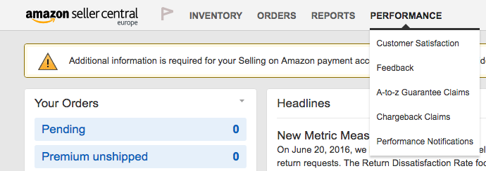 A screenshot showing where to access the Performance tab in Amazon Seller Central