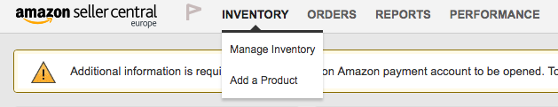 Screenshot showing how to access the Inventory tab in Amazon Seller Central