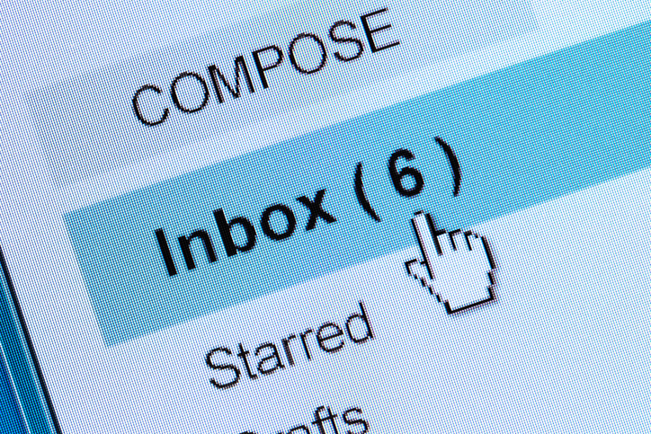 Email inbox with six messages to read