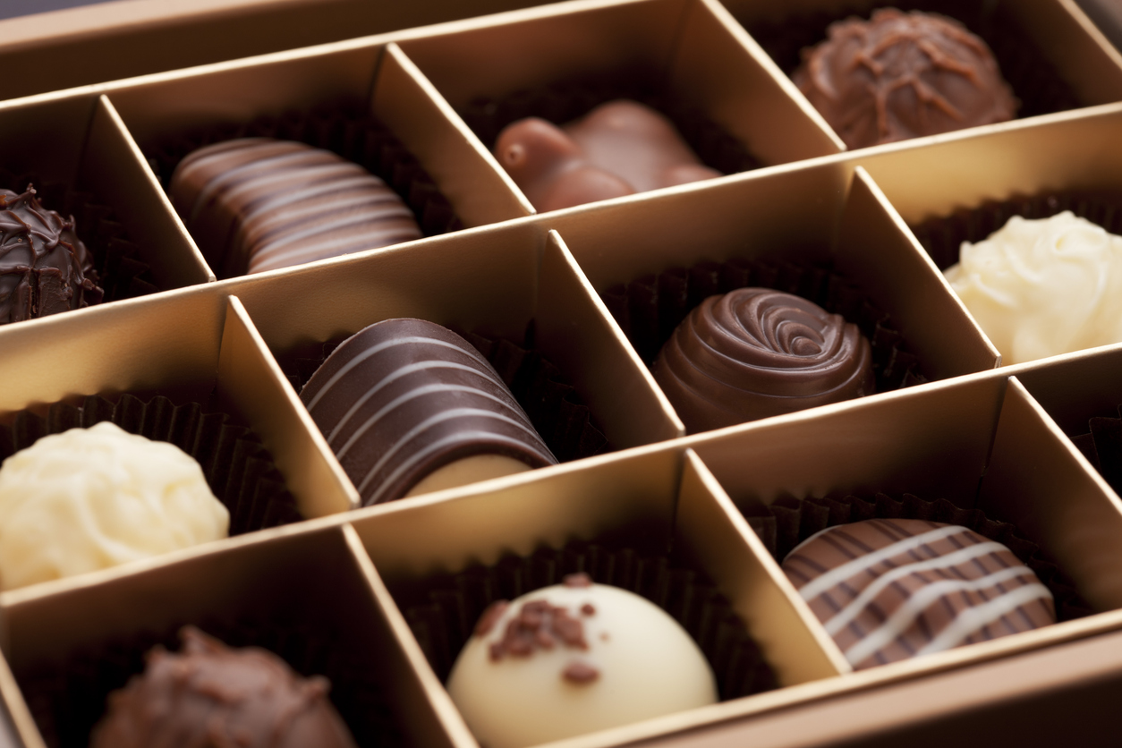 A box of luxury chocolates for Valentine's Day