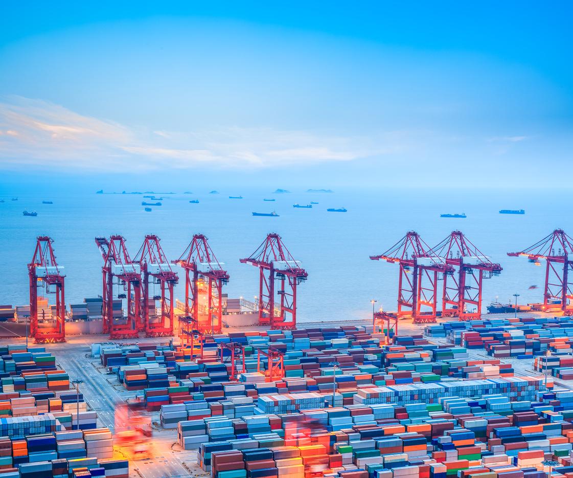 Shanghai shipping yard at dusk