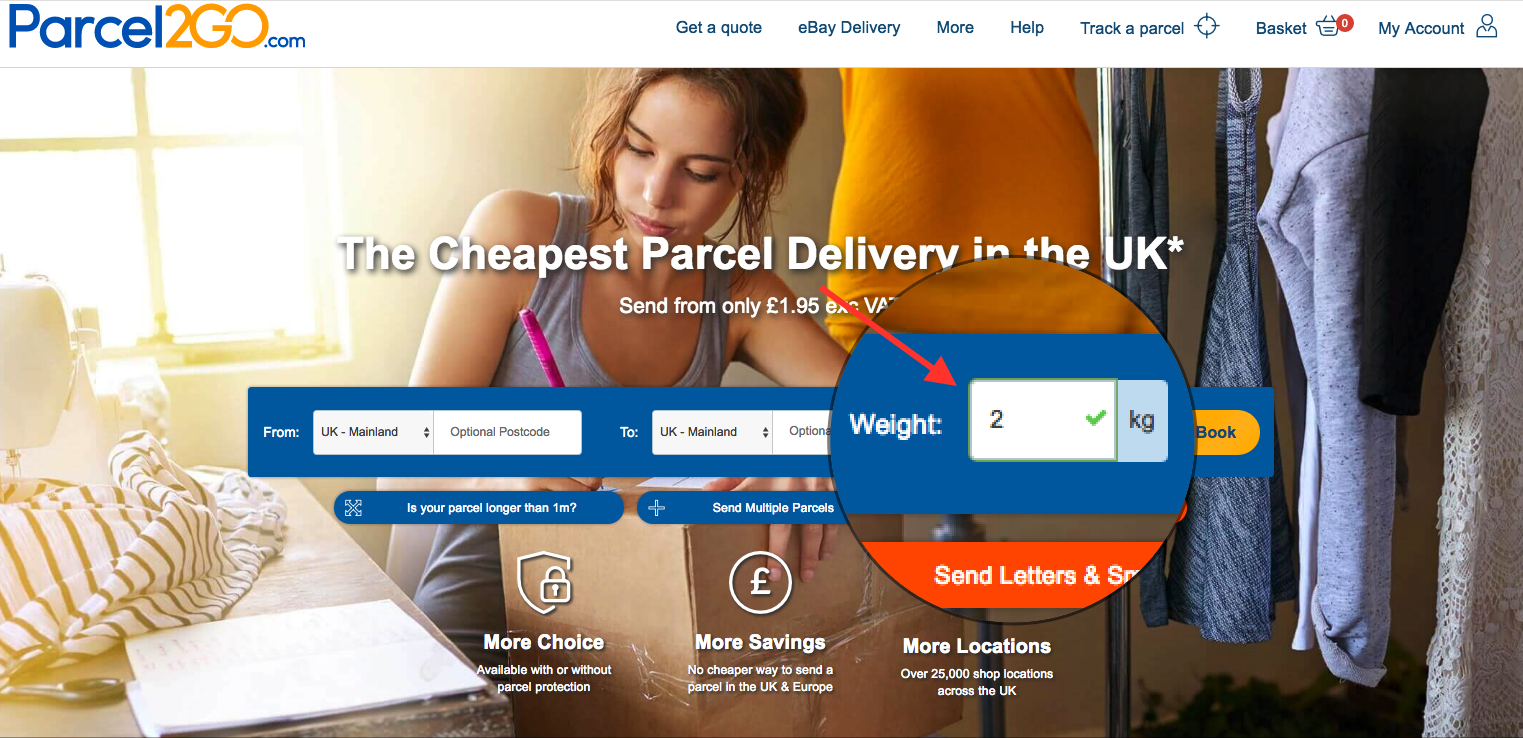 A close up of the Parcel2Go homepage showing users where to enter weight.