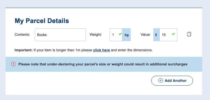 Explanation of the information users need to complete on the parcel details page