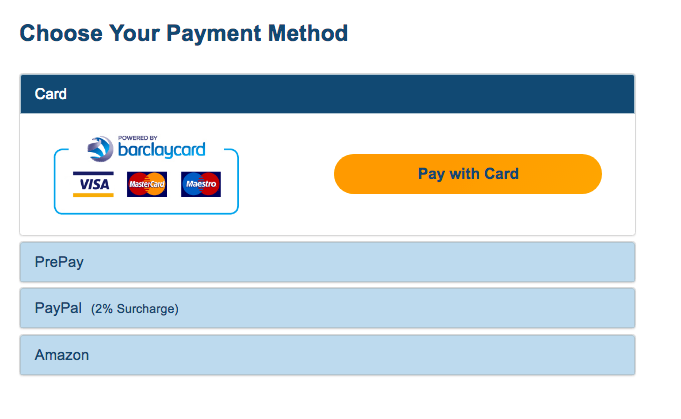 Payment options at the end of the parcel delivery booking process