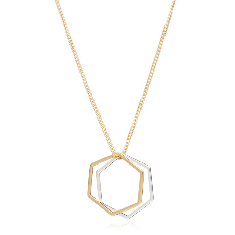 Rachel Jackson Mixed Metal Hexagon Rings Necklace, available at Trouva