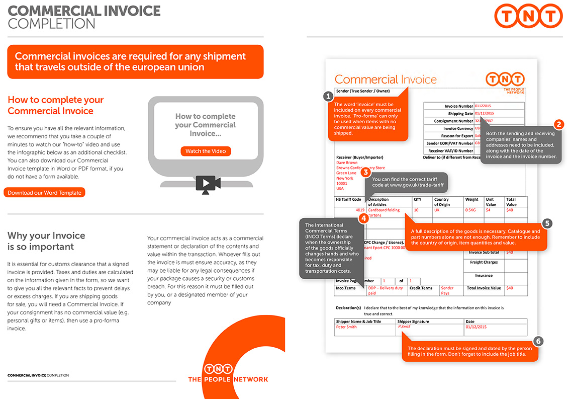 Completing Commercial Invoices Customs Requirements TNT Direct - Commercial invoice template download for service business
