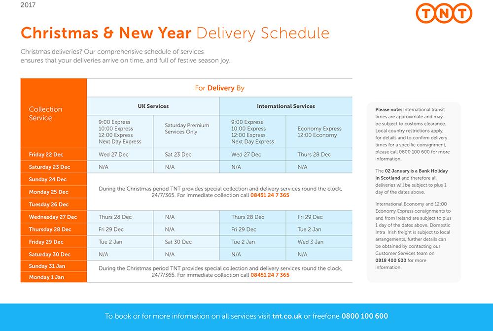 TNT Chrismas Delivery Schedule