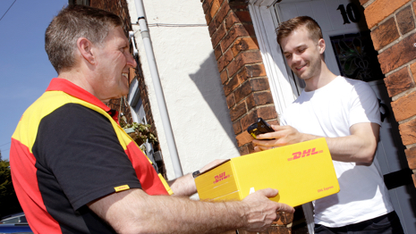 Parcel being collected from a customer's home
