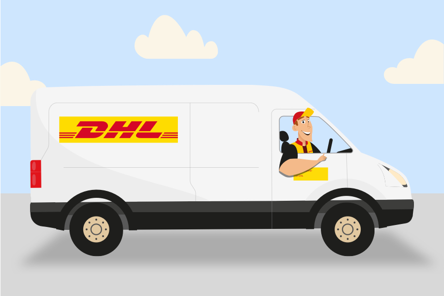 Illustration of a DHL Parcel UK van and driver