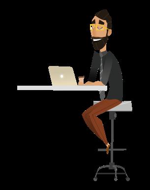 Man sat at computer